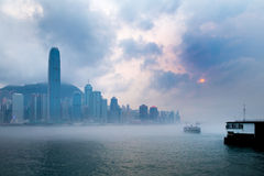 Misty Harbor - Victoria Harbor, Hong Kong Stock Image