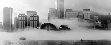 Misty Hong Kong Cityscape 2016 Royalty-vrije Stock Afbeeldingen