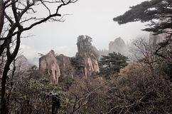 Misty Huangshan Mountains Photographie stock