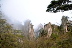 Misty Huangshan Mountains Images libres de droits