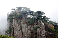 Misty Huangshan Mountains Immagini Stock