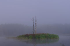 The misty island in Riese stock image