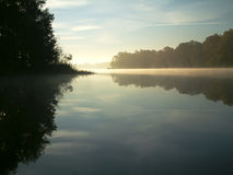 Misty lake. Early autumn morning at Lums Pond, DE Royalty Free Stock Image
