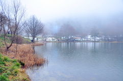 Misty lake. A misty lake in winter Stock Photo