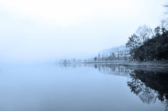 Misty lake. Black&White evening mist along the lake at Sapa Vietnam Royalty Free Stock Photos