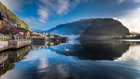 Misty lake at dawn in Hallstatt Stock Image
