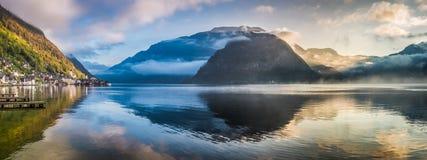 Misty lake at dawn in mountains, Hallstatt Stock Photo