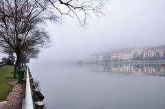 Misty lake. Evening mist along the lake at Sapa Vietnam Royalty Free Stock Photos