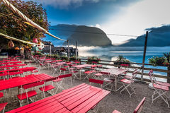 Misty lake at the restaurant in the morning Royalty Free Stock Photography