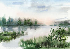 Misty lake Stock Photos