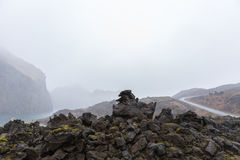 Misty landcape formed by the 1973 eruption of the Eldfell volcano in Heimaey, Westman islands, Iceland Stock Photo
