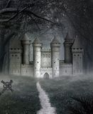 Misty landscape with a castle in the middle of a dark forest royalty free illustration