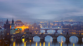 Misty landscape of Charles Bridge in Prague Royalty Free Stock Photos