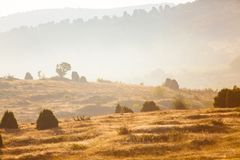 Misty landscape concept. Tranquil area in mountains. Untouched nature. Trekking concept stock image