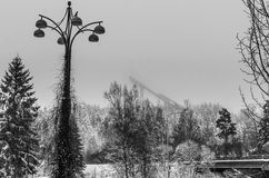 Misty landscape. Misty morning in Finland, Kouvola. Ski-jump tower on the backround Stock Photography