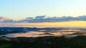 Misty Landscape At Summer Dawn foto de archivo