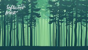 Free Misty Landscape With Fir Forest In Hipster Vintage Retro Style Stock Photos - 143443383