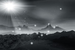 Misty light in night. 3d rendering graphics misty beautiful night landscape, misty  light in mountains Royalty Free Stock Photography