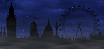 Misty London - sombre atmosphere. Image of the panorama of London - Big Ben, Big Wheel - sombre atmosphere Royalty Free Stock Image
