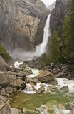 Misty Lower Yosemite Falls Stock Images