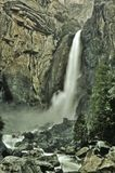 Misty Lower Yosemite Falls Stock Photography