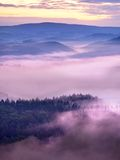 Misty melancholy daybreak in beautiful fairy valley. Peaks of rock trim creamy foggy clouds Royalty Free Stock Photography