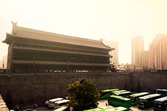 Misty and Moody Xian Cityscape stock photography