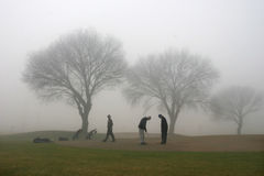Misty morning. On the golf course Royalty Free Stock Images
