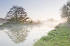 Misty morning. Mist above Newport Canal, Shropshire, UK stock photo