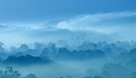 Misty morning. Of hilly area with ray of light Royalty Free Stock Images