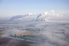 Misty morning aerial Stock Photo