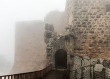 Misty morning in Ajloun Castle, also known as Qalat ar-Rabad, is a 12th-century Muslim castle situated in northwestern Jordan, nea. Irbid, Jordan, December 08 stock image