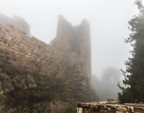 Misty morning in Ajloun Castle, also known as Qalat ar-Rabad, is a 12th-century Muslim castle situated in northwestern Jordan, nea. Irbid, Jordan, December 08 royalty free stock photography