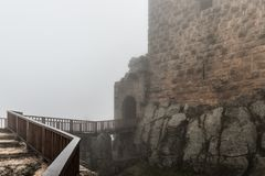 Misty morning in Ajloun Castle, also known as Qalat ar-Rabad, is a 12th-century Muslim castle situated in northwestern Jordan, nea. Irbid, Jordan, December 08 royalty free stock photo