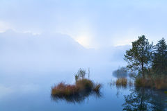 Misty morning on alpine lake Royalty Free Stock Images