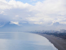 Misty morning in Antalya city in Turkey near the sea Royalty Free Stock Photo
