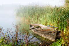 Misty Morning and A Boat Royalty Free Stock Photo