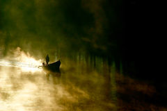 Misty Morning Boating Royalty Free Stock Photography