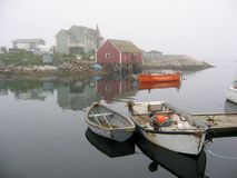 Misty Morning Boats at Peggy's Cove Royalty Free Stock Photos