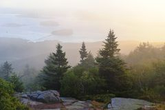 Misty morning Cadillac Mountain Royalty Free Stock Image