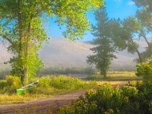 Misty Morning Canoe door de Groene Rivier royalty-vrije stock fotografie