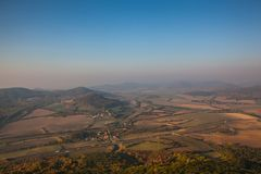 Misty morning in Central Bohemian Uplands, Czech Republic. Morning scenery in Central Bohemian Uplands, Czech Republic. Natural monument. View from the top of stock images