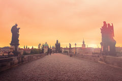 Misty morning on the Charles Bridge Stock Image
