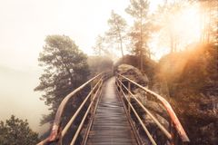Misty morning in the Elbe Sandstone Mountains royalty free stock photography