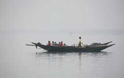Misty morning on the holiest of rivers in India. Ganges delta in Sundarbans, India Stock Image