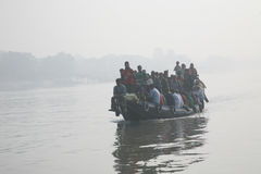 Misty morning on the holiest of rivers in India. Ganges delta in Sundarbans, India Stock Photos