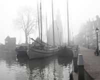 Yachts in the mist at Holland Stock Image