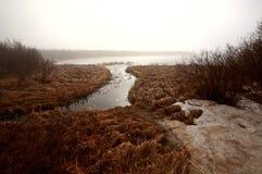 Misty Morning Lake. In Spring Saskatchewan Stock Photo