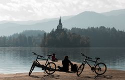 Misty morning at lake Bled Stock Image