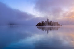 Misty morning in lake Bled Royalty Free Stock Photos